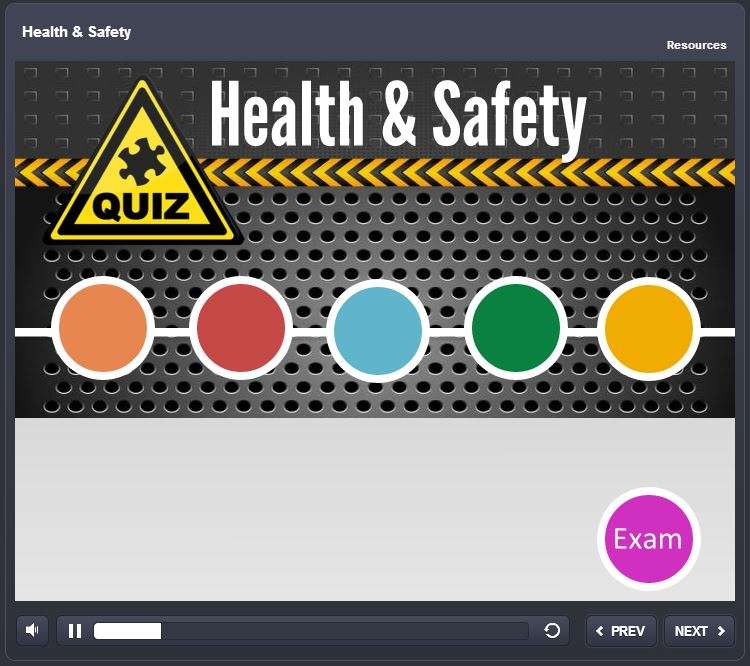 HTML5 elearning health and safety example