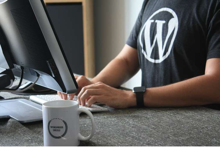 Person wearing a shirt with the wordpress logo, editing his wordpress website on his computer