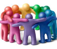 multi colours stick men in a group huddle, representing the groups you may have in a web system