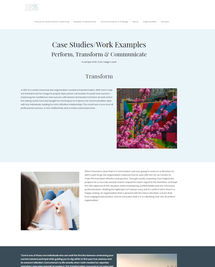 A screengrab of the case studies section of the Coni Judge website showcasing the design