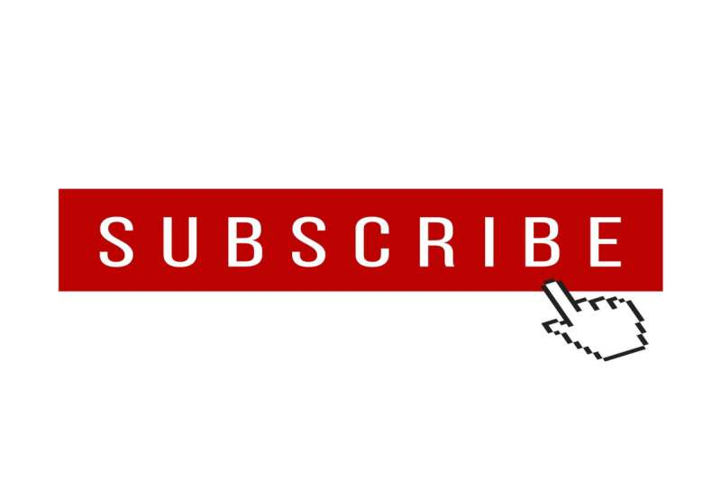white background with white writing that is titled subscribe on red block