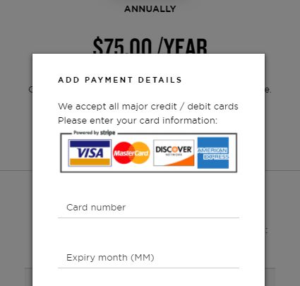 Subscription payments via Stripe