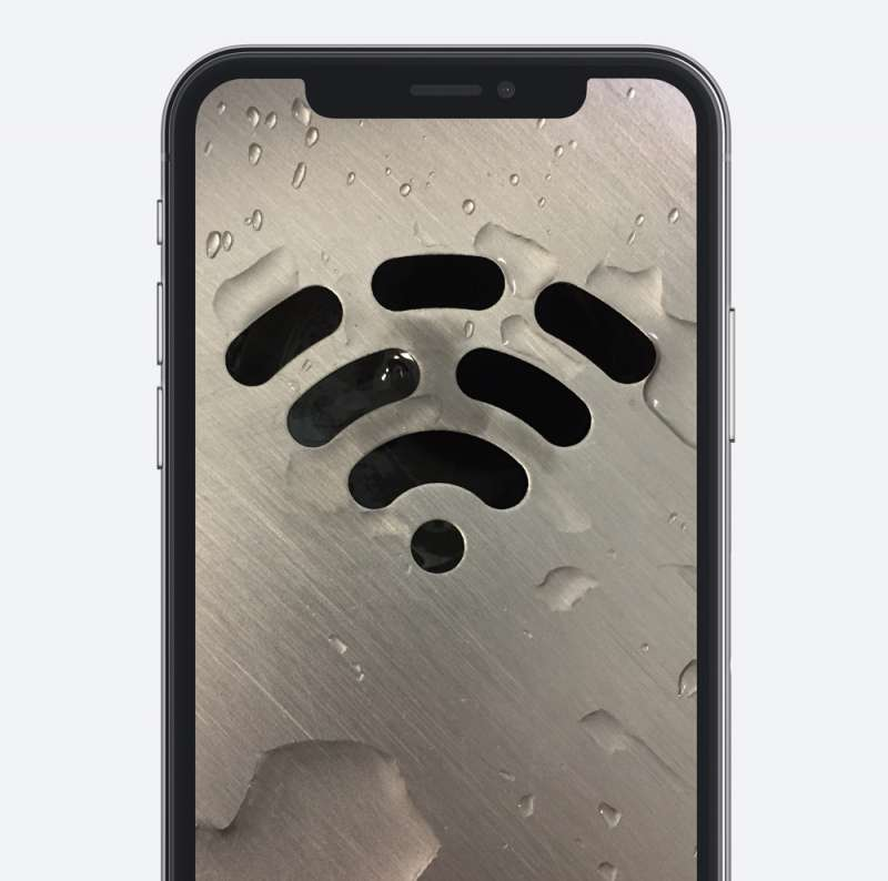 wifi logo on a phone screen, symbol of signal on a phone