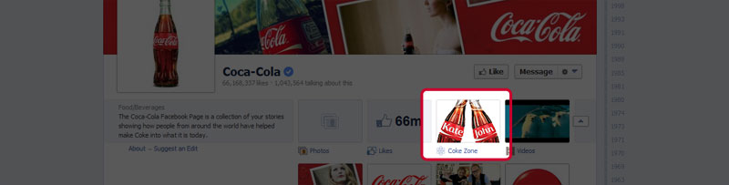 Coca-Cola facebook tab example.