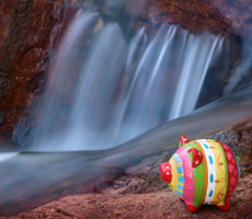 piggy bank near a waterfall, representing money and revenue streams.
